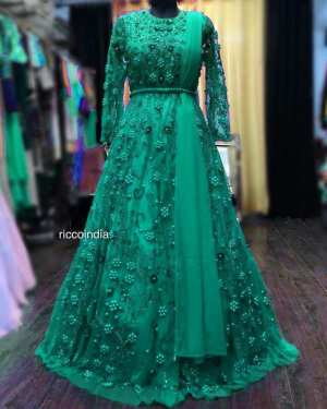 Green Colour Net Georgette Gown