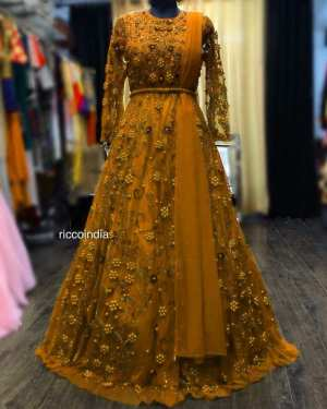 Yellow color net Georgette gown