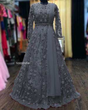 Gray color net Georgette gown
