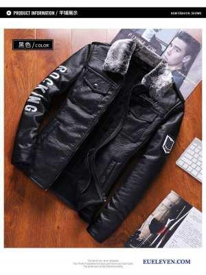 Warm Zipped Double Pocket Faux Leather Biker Jacket For Men
