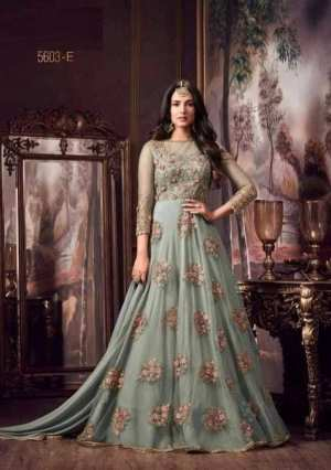 Light Blue Semi-Stitched Anarkali Gown Set With Shawl For Women