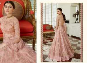 Peach Heavy Embroidered Semi-Stitched Anarkali Gown Set For Women