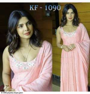 Peach Tapeta Silk Full Stitched Gown with Shawl for Women
