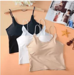 Summer Cool Ice Silk Short Camis Women Black White Casual Tank Top Camisole Underwear Bralette Crop Top Blusas Women Tops