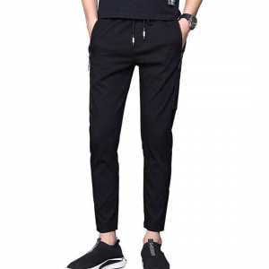 Black Polyester Sweat Pant For Men