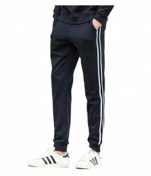 Men's Casual Slim Fit Striped Cotton Sweatpants and Jogger for Autumn Wear
