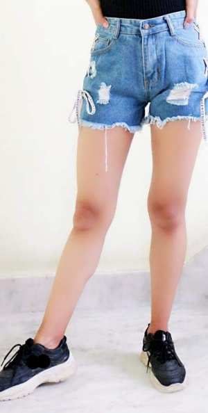 Sexy Shorts Of Denim Jeans For Young Girl Jeans Got Hole Webbing On The Side