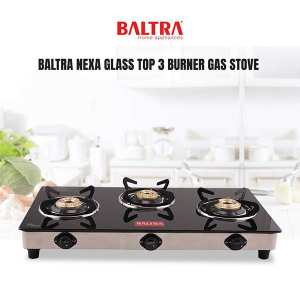 Baltra Nexa Glass Top 3 Burner Gas Stove Black, 6mm Tempered Glass with Heat Shield, Stainless Steel Body, SS Drip Tray, High Efficiency Brass Burner,...