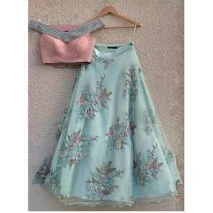 Light Blue Floral Printed Sleeveless top For women