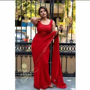 Red Sequin Lace Work Georgette Saree With Blouse For Women