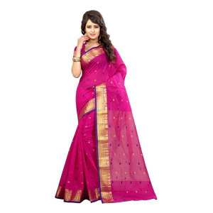 Pink Printed Cotton Silk Saree With Blouse Piece For Women