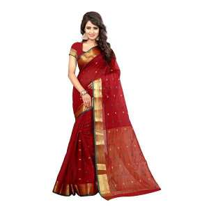 Dark Red Printed Cotton Silk Saree