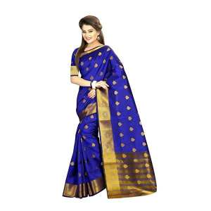 Royal Blue/Golden Banarasi Silk Saree With Blouse