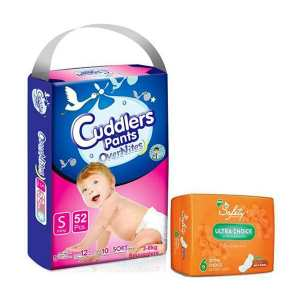 Cuddlers Eco-Pack Pant Style Diaper  small  (48Pcs) With Free Safety Ultra Sanitary Pads
