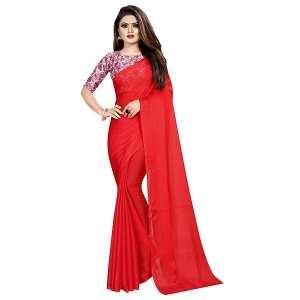 Plain Chiffon Saree Red Color Soft Material