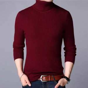 Maroon Winter  Turtle High Neck Pullover