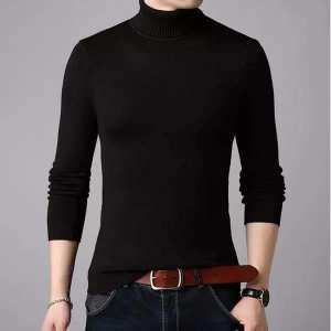 Black Winter Turtle High Neck For Men