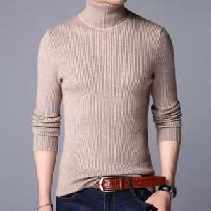 Brown Winter Turtle High Neck For Men