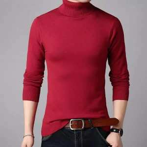 Red Winter Turtle High Neck For Men