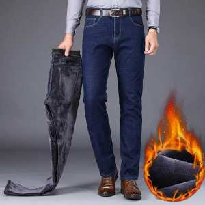 New Men's Warm Slim Fit Jeans Business Fashion Thicken Denim Trousers Fleece Stretch Brand Pants Blue
