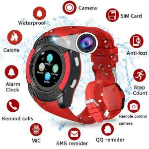 V8 Sports Bluetooth Smart Watch with Camera and Sim Card Supported